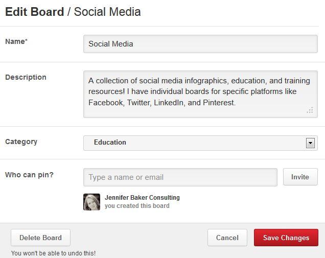 Edit Pinterest Boards
