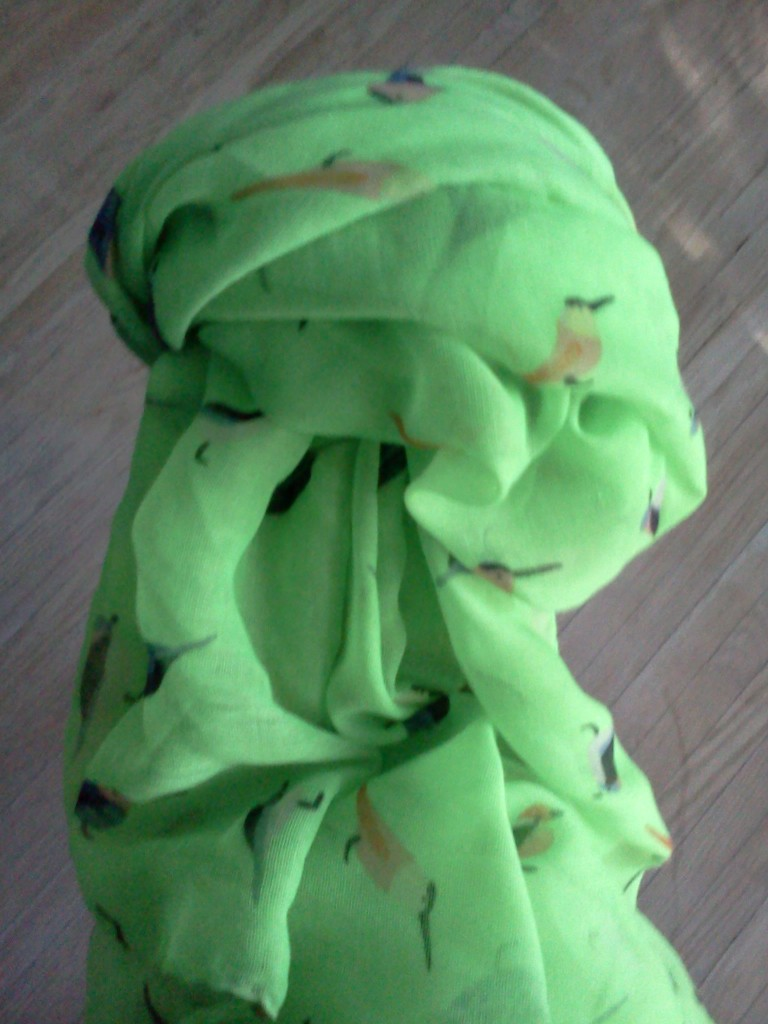 Lime Green Bird Scarf
