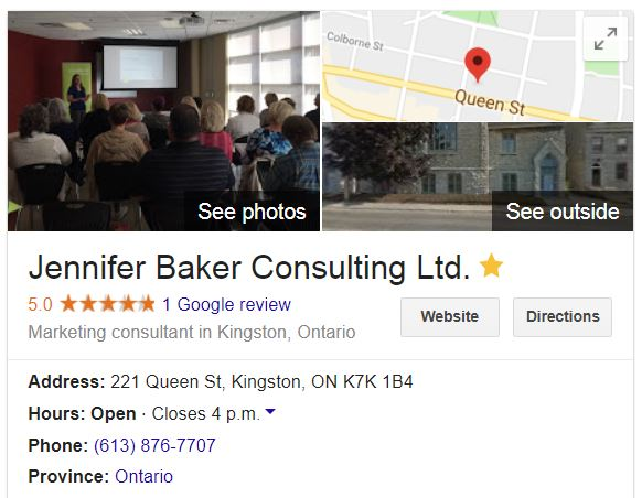 Jennifer Baker Consulting Ltd. Google My Business Listing