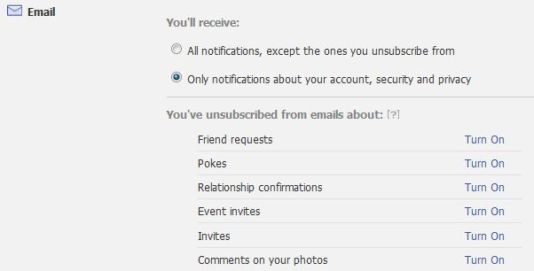 email notifications form facebook
