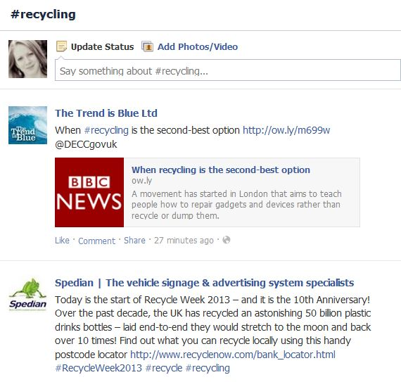 recycling facebook hashtag search result